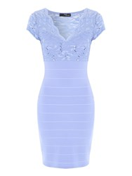 Jane Norman Light Lace Bandage Dress Light Blue