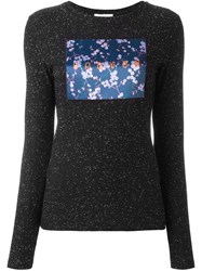Carven Floral Patch Flocked Pullover Black