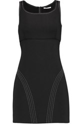 Maje Embroidered Scuba Mini Dress Black