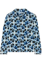 Prada Printed Crepe De Chine Shirt Blue