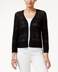 Charter Club Crochet Striped Open Cardigan Only At Macy's Deep Black