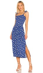 1.State 1. State Tie Shoulder Smocked Maxi Dress In Blue. Yacht Blue