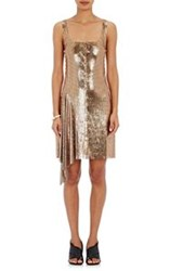 Paco Rabanne Lace Up Chain Mail Tank Dress Gold