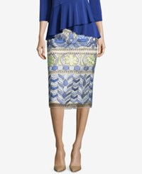 Eci Embroidered Pencil Skirt Blue