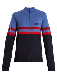 Lndr Aspen Zip Through Striped Wool Sweater Blue Multi