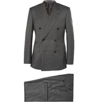 Kingsman Grey Double Breasted Shadow Checked Super 150 Wool Suit Gray