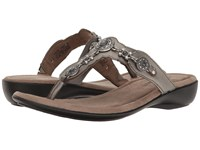 Minnetonka Boca Thong Iii Pewter Leather Women's Sandals