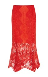 Jonathan Simkhai Panel Applique Lace Trumpet Skirt Red