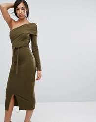 Lavish Alice Double Layer One Shoulder Rib Knit Midi Dress In Khaki Green