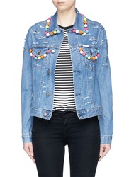 Forte Couture Pompom Ripped Cotton Denim Jacket Blue