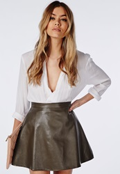 Missguided Adriane Faux Leather A Line Skirt Khaki Beige