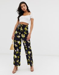 Qed London Wide Leg Palazzo Trousers In Navy Floral