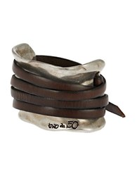 Uno De 50 Leather Strap Accented Cuff Bracelet Brown