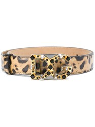 Dolce And Gabbana Leopard Print Logo Buckle Belt Leather