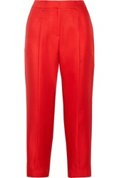 Adam By Adam Lippes Cropped Wool And Silk Blend Twill Pants Red