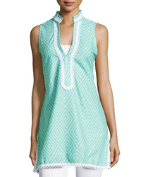 Sail To Sable Dot Print Lace Trim Sleeveless Dress Aqua White Green