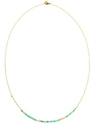 Natasha Collis 18K Gold And Emerald Bead Necklace Green
