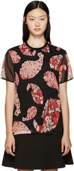 Giambattista Valli Black And Red Printed Silk T Shirt