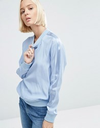 Asos White 100 Silk Sweat With Stripe Sleeve Detail Baby Blue Navy