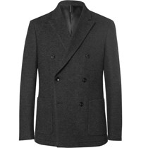 Helbers Grey Slim Fit Unstructured Cotton Alpaca And Wool Blend Jersey Blazer Charcoal