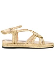 N 21 No21 Braided Flat Sandals Women Calf Leather Straw Rubber 38 Metallic