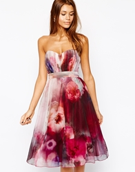 Little Mistress Bandeau Midi Prom Dress In Blurred Floral Print Multi