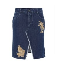 Stella Mccartney Embroidered Denim Skirt Blue