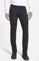 Men's Rogue Garment Dyed Slim Fit Moto Jeans Black