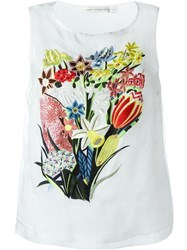 Mary Katrantzou Floral Embroidered Tank Top White