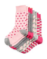 Neiman Marcus Four Pack Wardrobe Sock Set Assorted Pink