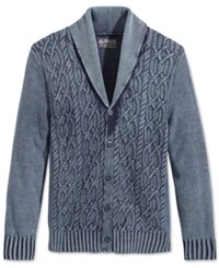 American Rag Men's Indigo Cable Knit Shawl Collar Cardigan Only At Macy's Basic Navy