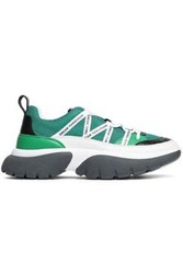 Maje Woman Mesh And Textured Leather Sneakers Green