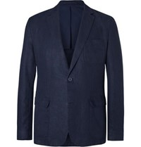 Orlebar Brown Navy Edgar Slim Fit Unstructured Linen Blazer