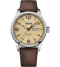 Hugo Boss 1513332 Pilot Stainless Steel And Leather Watch