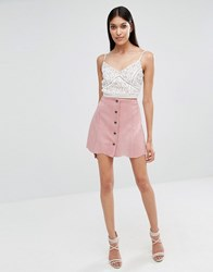 Lipsy Pink Mini Suedette Skirt Pink