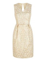 Yumi Gold Daisy Jacquard Party Dress