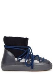 Inuikii Patchwork Shearling Lined Suede Boots Navy