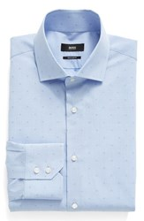 Boss Men's Big And Tall Slim Fit Check Dress Shirt Grey