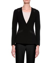 Giorgio Armani Collarless Jersey Single Button Jacket Black