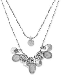 Lucky Brand Silver Tone Mini Charm Statement Necklace