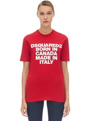 Dsquared Printed Cotton T Shirt Red
