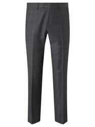 John Lewis Check Super 100S Wool Tailored Fit Suit Trousers Grey