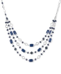 Nine West Silver Tone Blue Stone And Bead Multi Row Necklace