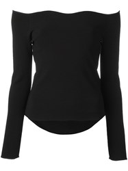 Cedric Charlier Scalloped Boat Neck Knitted Top Black