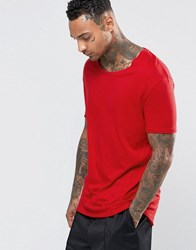 Asos Longline T Shirt With Stretch Neck And Drop Hem In Red Chinese Red