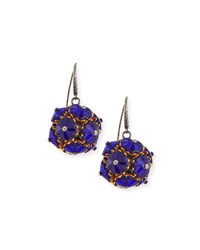 Bottega Veneta Floral Ball Drop Earrings Blue