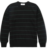 Ami Alexandre Mattiussi Striped Knitted Cotton Sweater Black