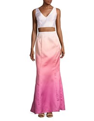 Laundry By Shelli Segal Ombre Cropped Top And Skirt Set Hot Pink