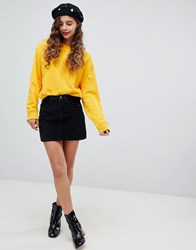 Bershka Button Cord Mini Skirt Black