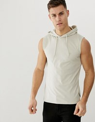 French Connection Sleeveless Hoodie Stone
